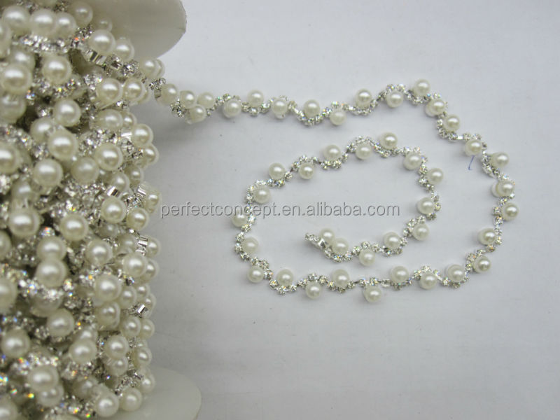 2014 New Rhinestone Trim / Pearl Trim / Decorative Stone Trim for Dress