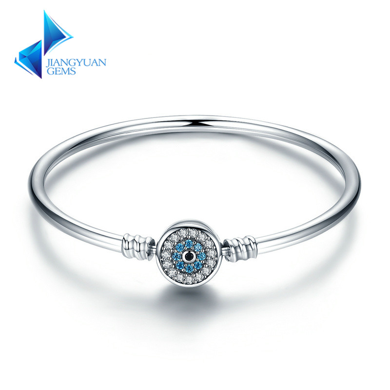 Blue Eyes Clear CZ Snake Chain Heart Bangle & Bracelet Jewelry