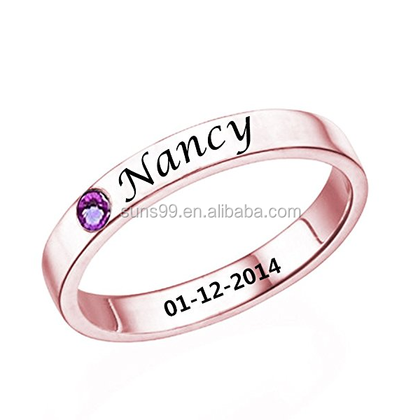 Latest Gold Ring Designs For Girls Personalized Birthstone Promise Ring With Name Custom Made With Name & Date
