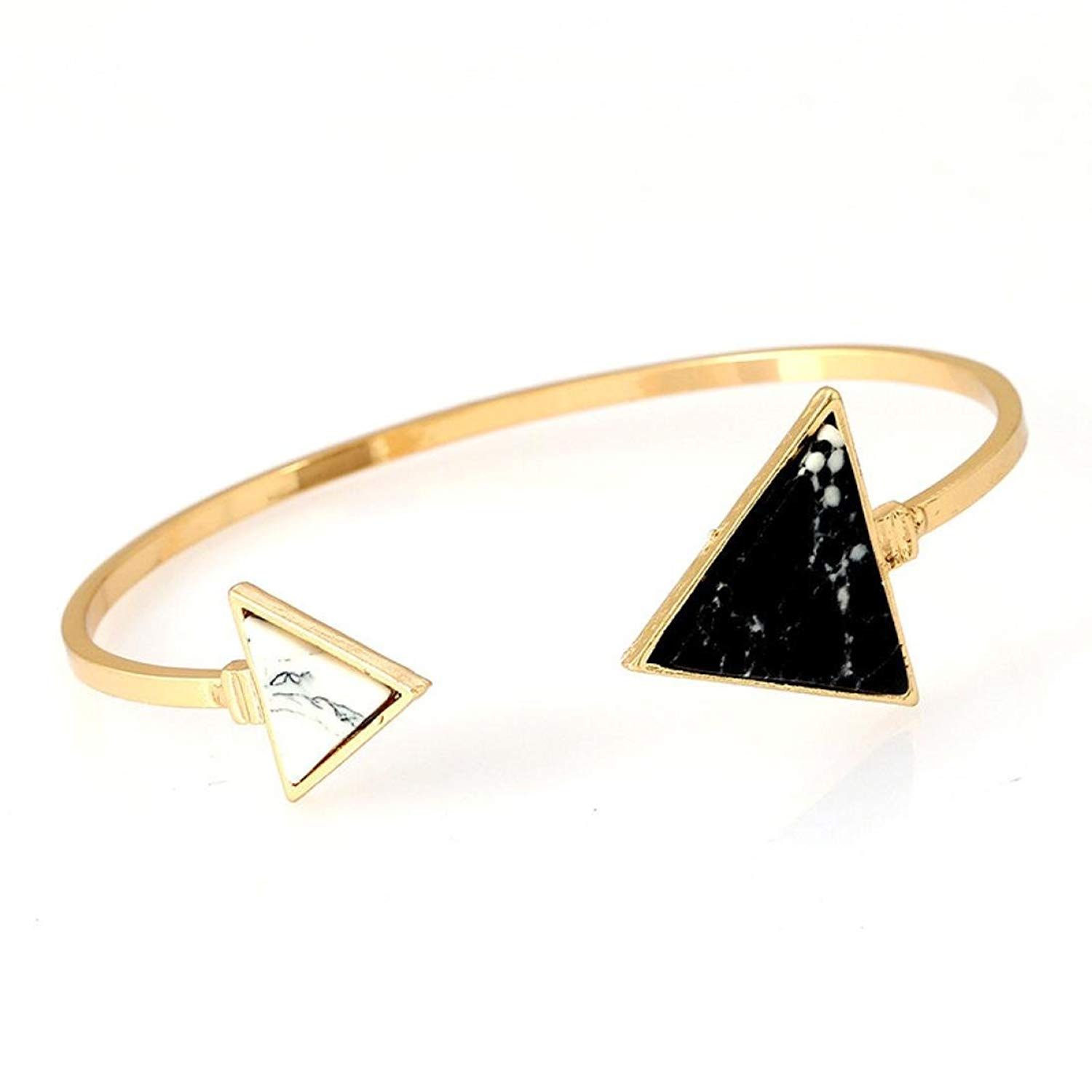 JSPOYOU Promotions! Womens Adjustable Geometric Asymmetrical Turquoise Open Bangle
