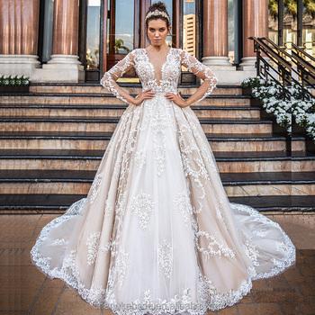 2018 Muslim Long Sleeves Wedding Dress Bridal Gown - Buy Wedding ...
