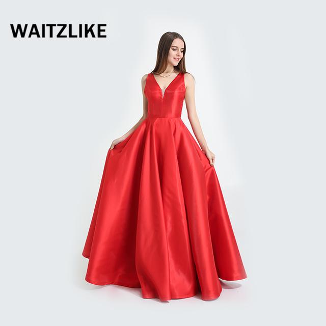 6f670ff914ea75 Long satin pure red sex long back open deep v-neck prom dress women