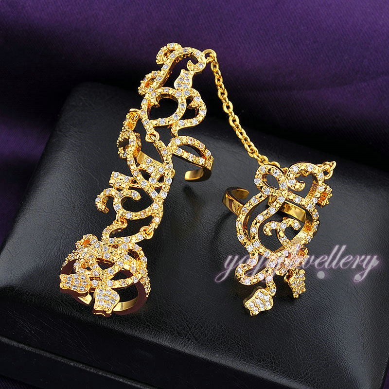 Hot trend jewelry crystal latest fashion gold plated two finger