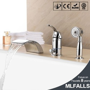 Polish chrome waterfall bathroom the faucet bath tub filler deck mount shower mixer tap with handshower