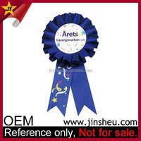 Manufacturer Cheap Custom Round Satin Ribbon Rosette Badge