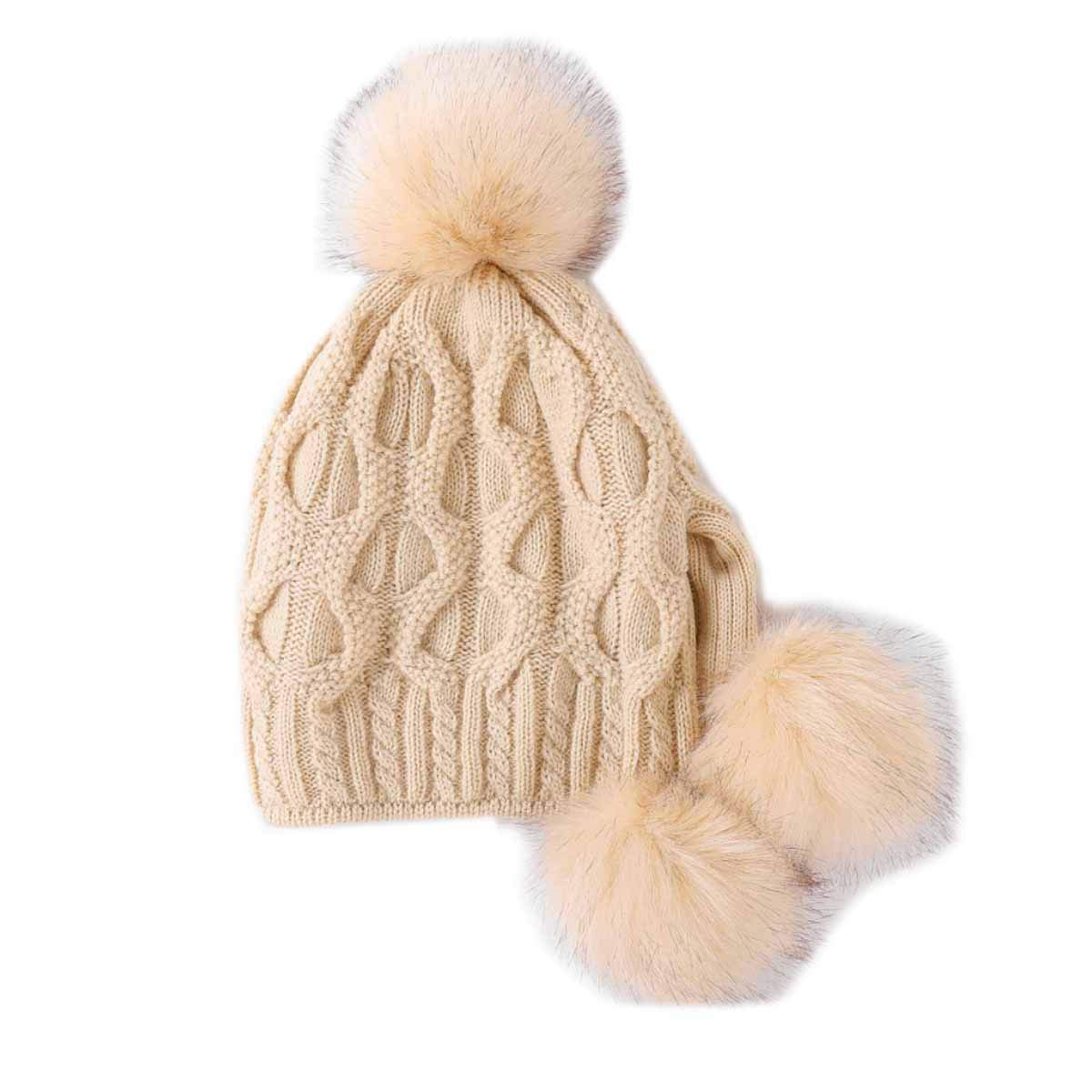 d120b2e3e04 Get Quotations · HCY 1Pcs Women Girls Faux Fur Pom Pom Hat Earflap Warm  Knitted Solid Color Beanie Slouchy