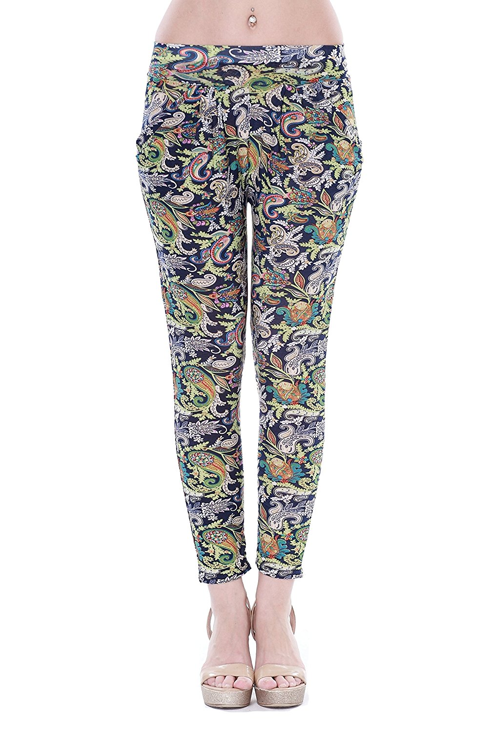 6d1be9595b9a Get Quotations · Hawaii Hangover Women s Hawaiian Floral Elastic Waist  Skinny Pull On Pants Black With Green Floral