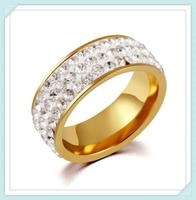 Shambhala design classic fashion women style stainless steel 3 row italian gold rings