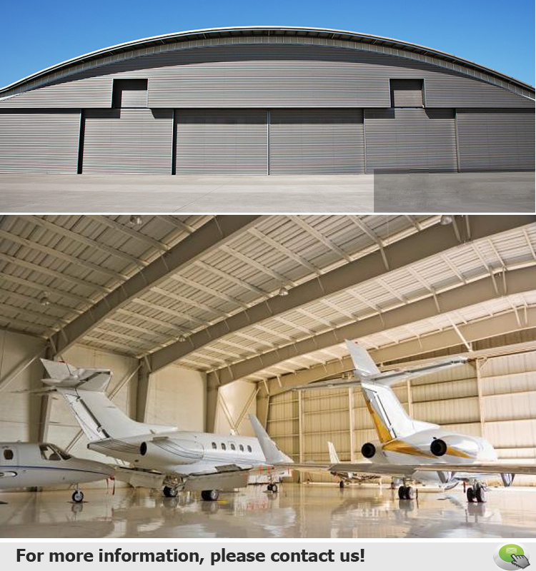 Prefabricated Made Large Span High Quality Steel Structural Airplane Arch Hangar Building Construction
