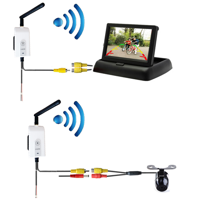 Auto-dimming DVR Rear View Mirror Wireless Vehicle Backup Camera System For Car