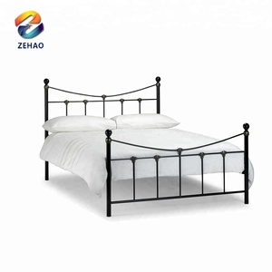 High quality Frame parts metal bed/white and black steel adults designs round tube frame single metal bed
