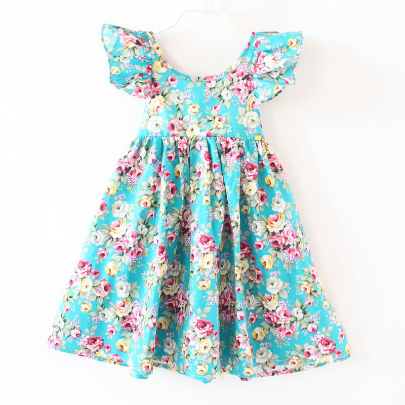 4a518ab758d ZIKA Girls Dress 2017 Summer Girl Dress Fashion Butterfly Sleeve Floral Girls  Dresses 18M-7Y Casual Beach Baby Girl Clothes