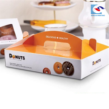 Custom Printing bakery Donuts paper box with handle