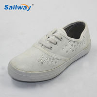 plain cvo plastic diamond simple styles lady rubber sole canvas shoes