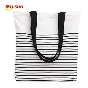 c7d37d47e7a9 2018 New design Black Stripe Pattern Canvas Tote Bag Shoulder bag White