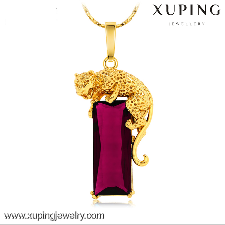 XL4166 xuping imitation jewelry short style leopard 24k gold plated gemstone necklace