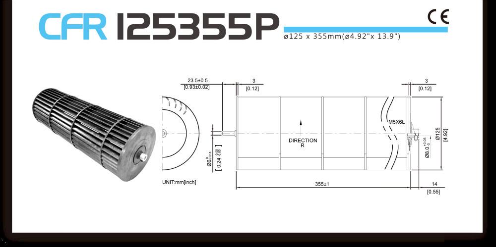 125 355mm Cross Flow Fan Plastic Air Conditioner Fan