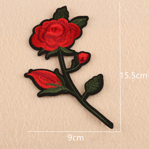 China Supplier Clothing Patches T Shirt Embroidery Fashion Rose Flower Hot Fix custom nylon patch