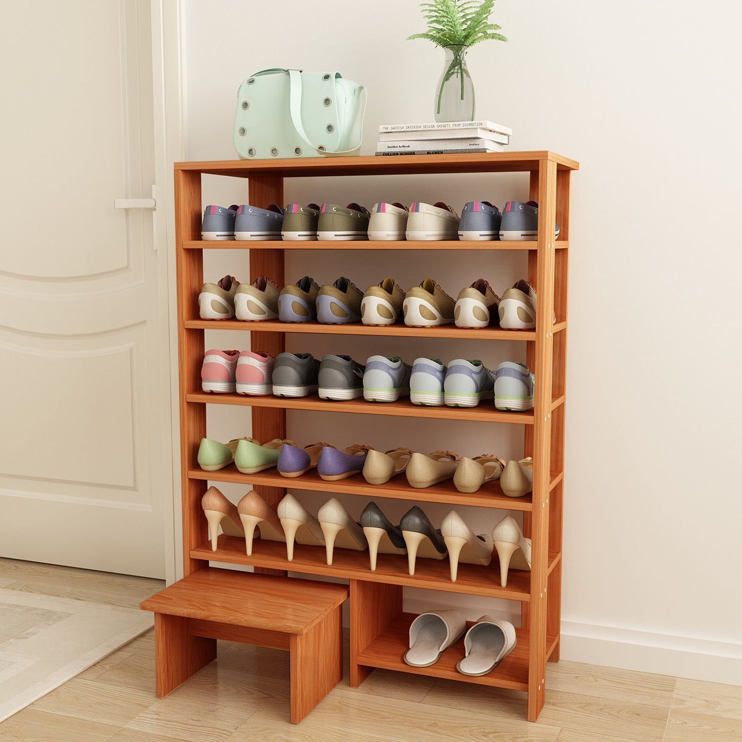 Jerry Maggie 6 Tier 100 Solid Wood Shoe Rack With One Footstool Storage Shelves Free Standing Flat Racks Clic Style Multi Function