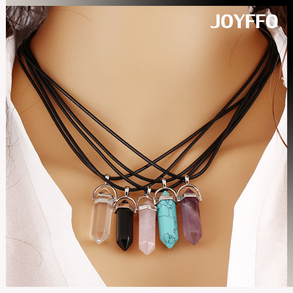 Yiwu natural stone bullet shape pendant necklace for women, different types of natural stone option pendant necklace