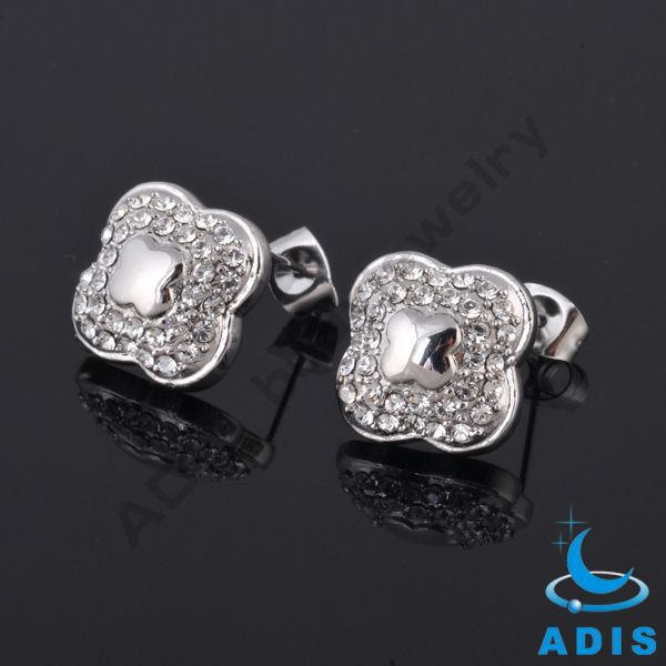 Surgical steel casting ear studex high polish Jeweled Flower Post Earrings