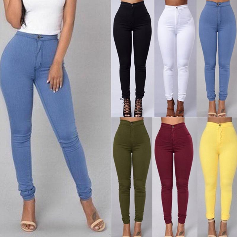 โรงงานขายส่งผู้หญิงความยาวเต็มกางเกงเอวสูงกางเกงดินสอผอม