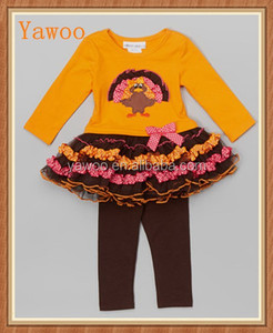 wholesale used baby clothes fall yawoo turkey thanksgiving clothing chiffon tutu children clothes brand outfits sets
