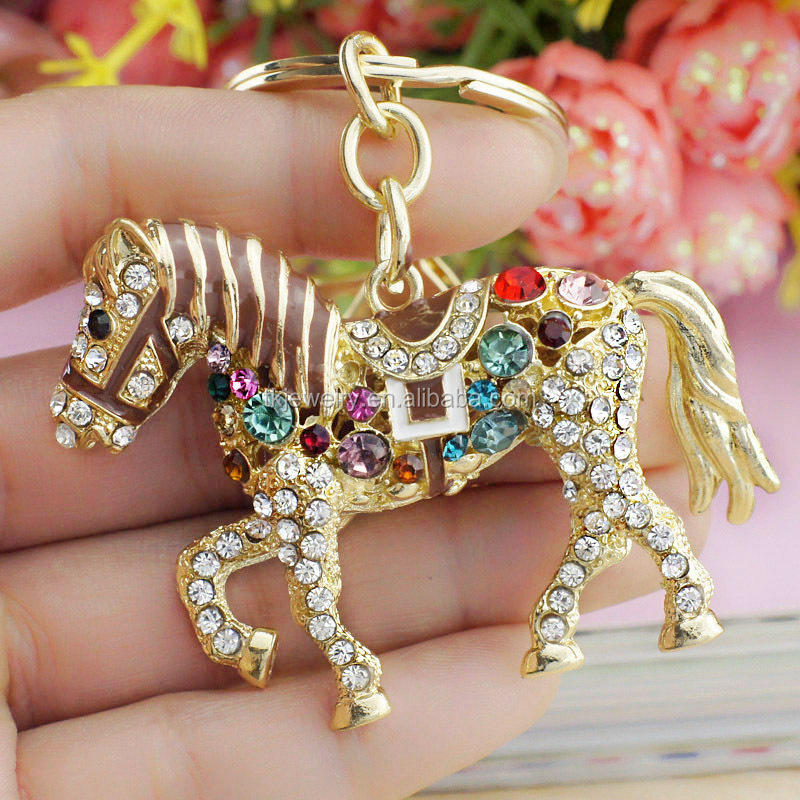 Fashion Multicolor Crystal Horse Rhinestone Metal Keychains Bag Pendant Key Holder Accesories