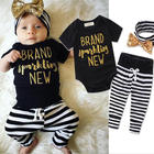 2017 Hot selling Funny baby girl clothes children 3 pieces outfits set romper pant with sequin headband