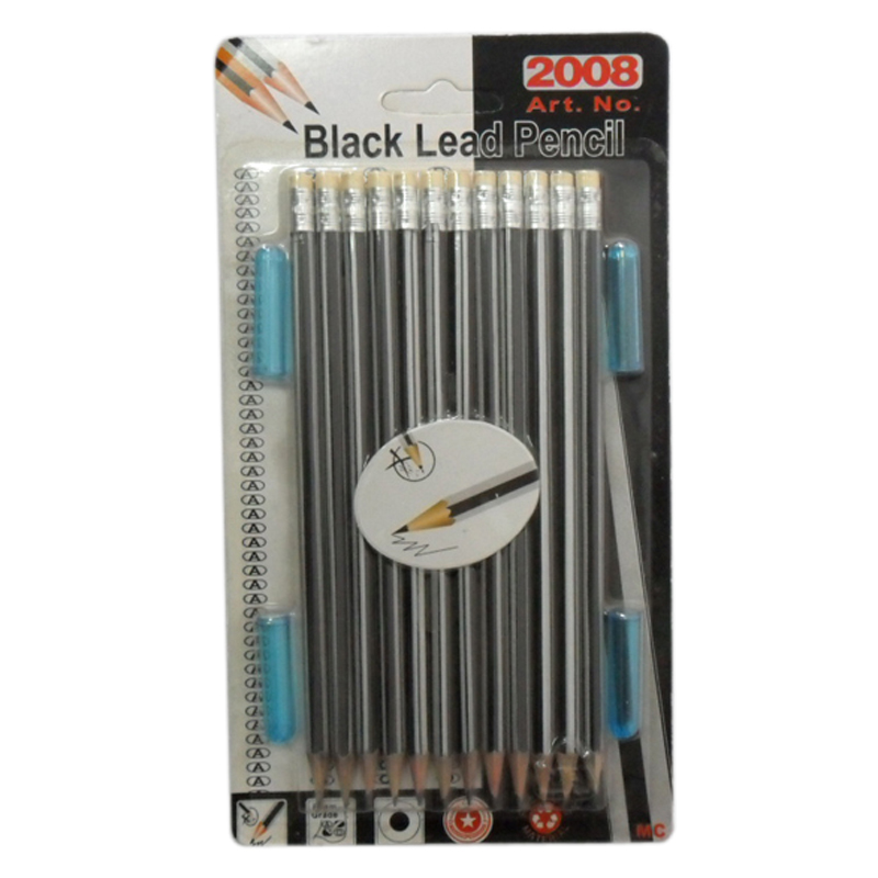 Custom LOGO12pcs black lead pencil and 4pcs pen cover stationery set school
