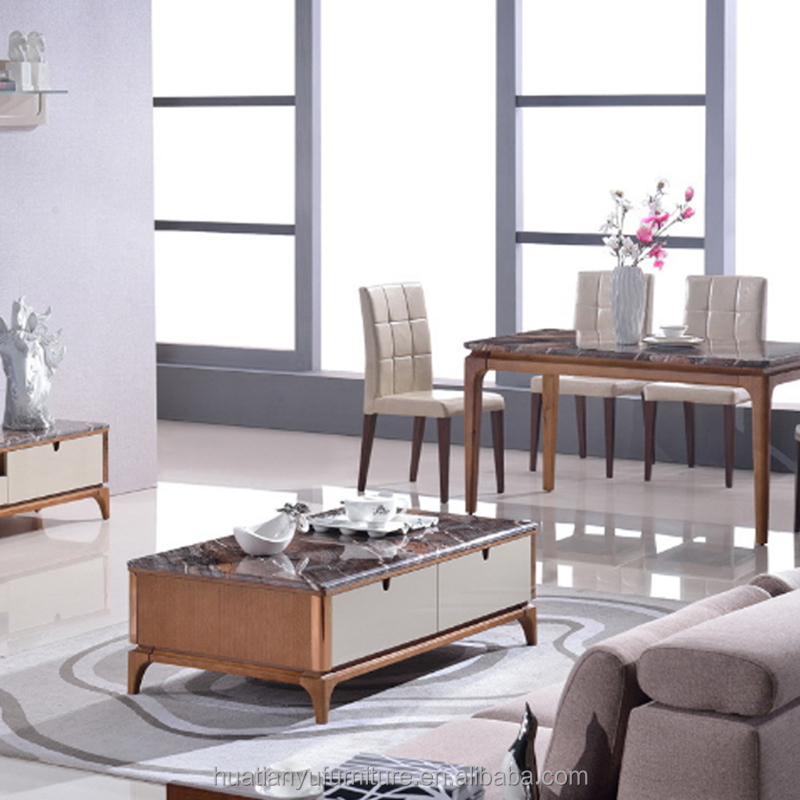 Home furniture wooden legs marble top coffee table for sale