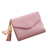 PU Leather Trifold Tassel Small Short Wallet For Women