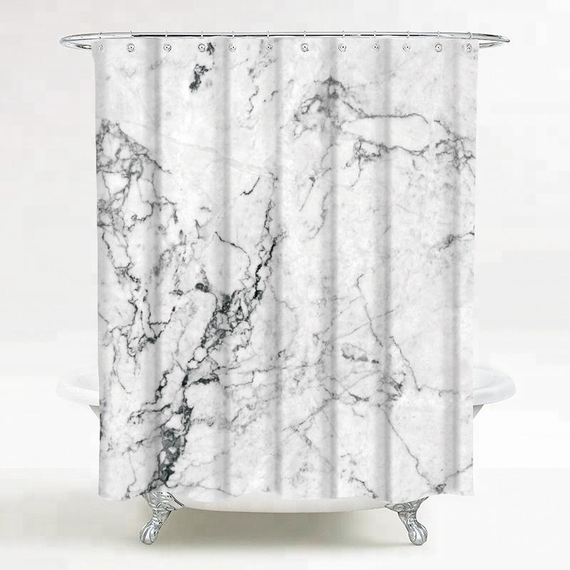 Custom Design Marble Pattern Shower Curtain Fabric