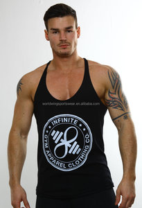 Mens custom cotton spandex black screen printed fitness stringer vest
