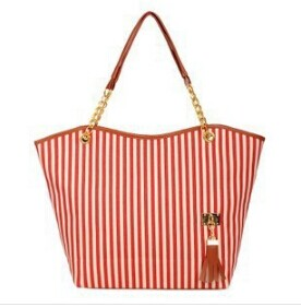 2013 women's handbag stripe canvas bag chain tassel hangings handbag fashion bag