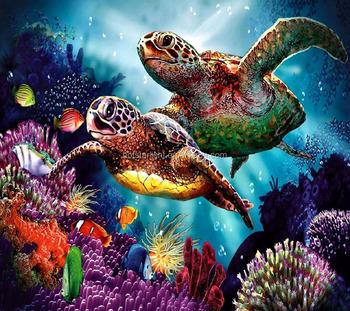 Diy 50x44 Cm Kaplumbağa Mercan Balık Renkli Deniz Dünya Elmas Boyama
