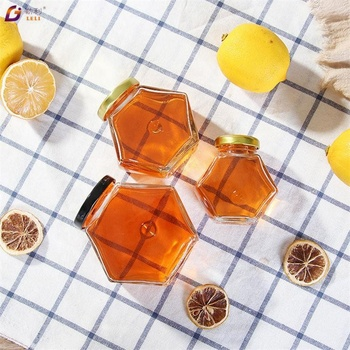Hot sale honey jars glass hexagonal