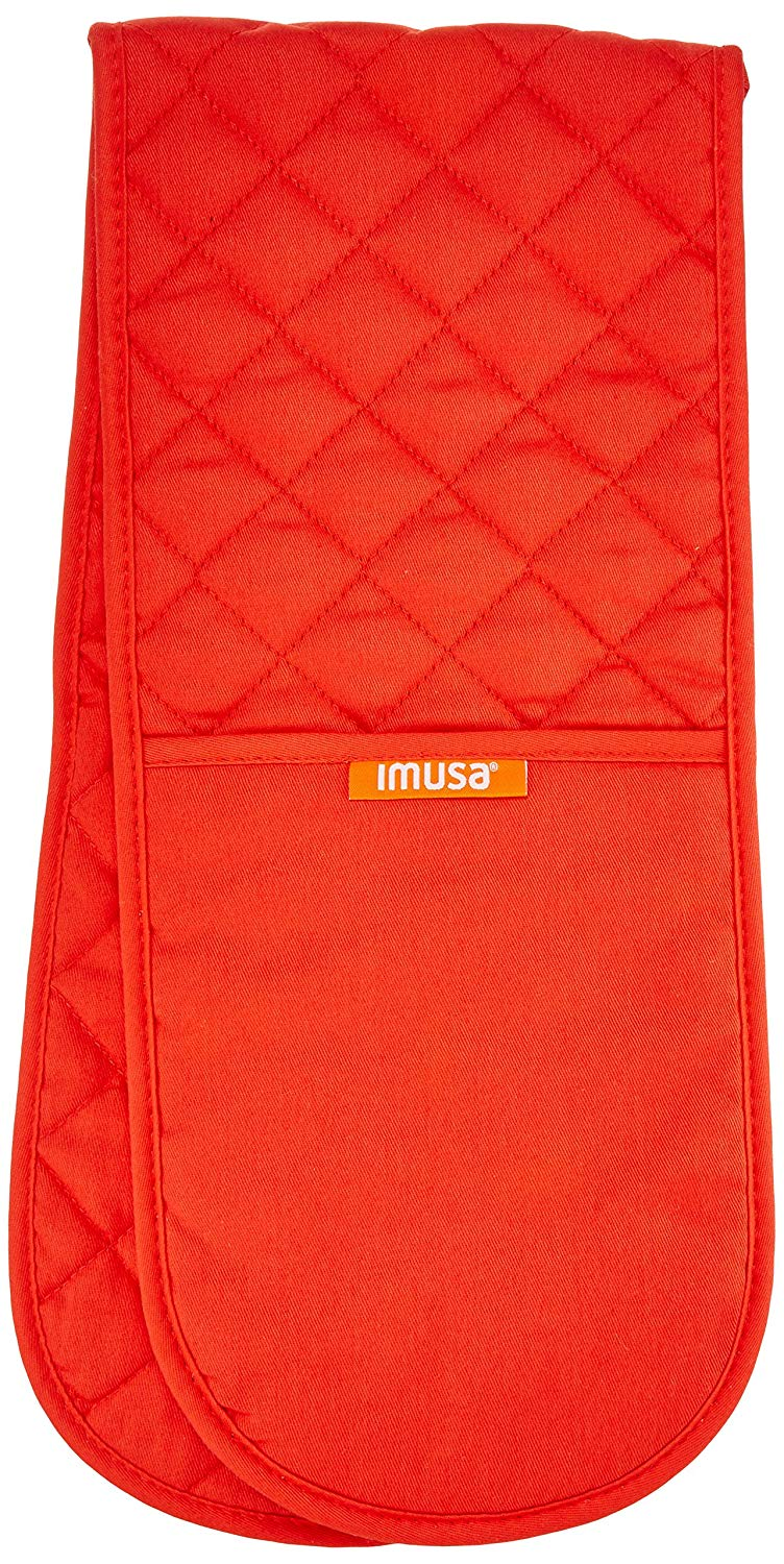IMUSA Heat Resistant Double Oven Mitt Glove/Moppine, Great for Cooking & Baking & Handling Hot Pots and Pans, Red