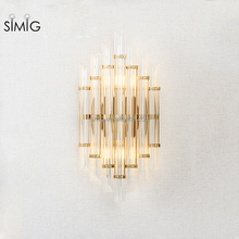 new designed modern Creative K9 crystal golden color electronic wall lamp