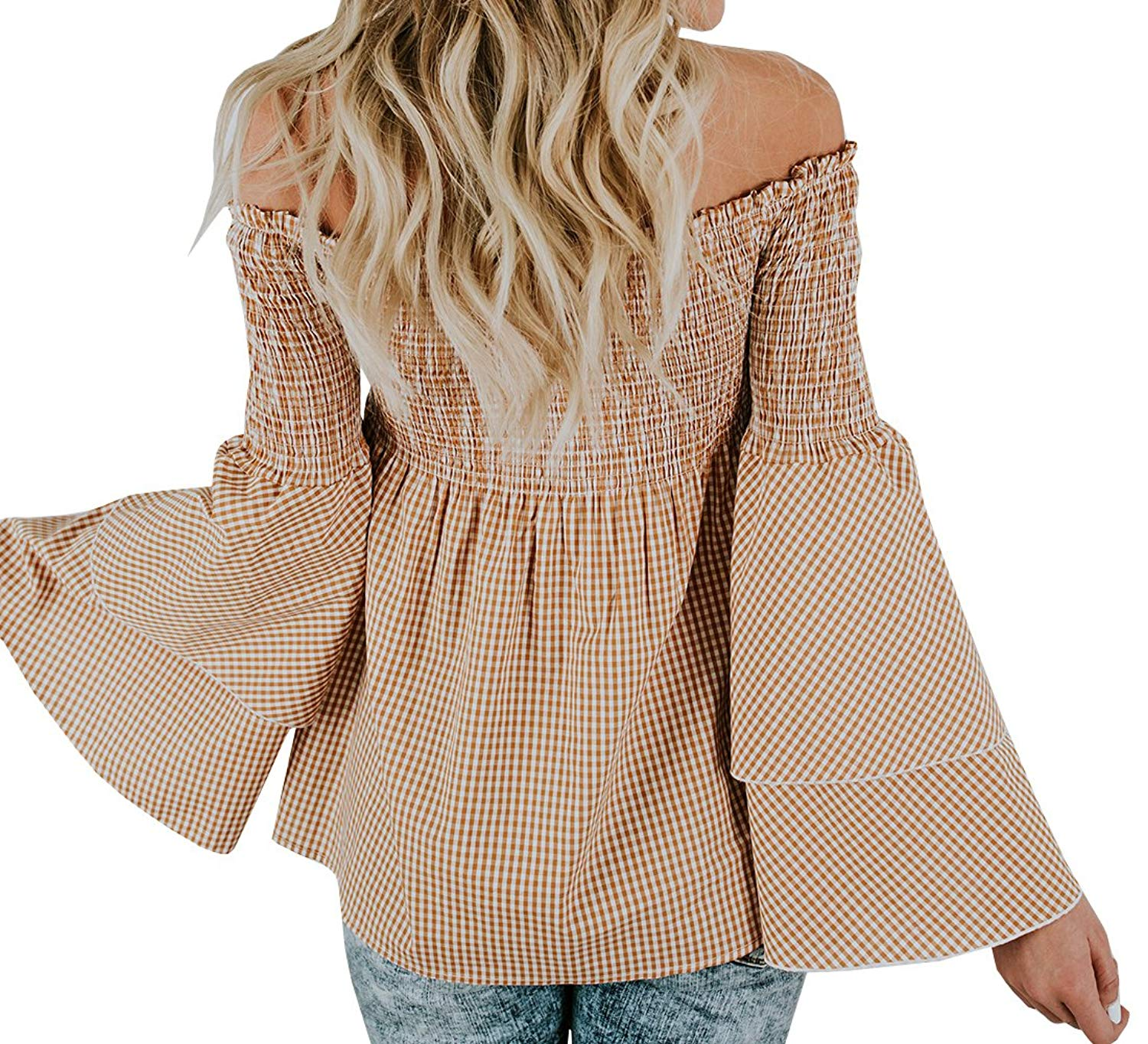 ee69ea7067e589 Get Quotations · Chellysun Women Plaid Off Shoulder Ruffle Tops Long Sleeve  Casual Blouse Shirts