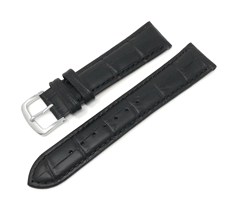 Mens Alligator Grain Watchband Natural Matte Finish Black 16mm - by JP Leatherworks