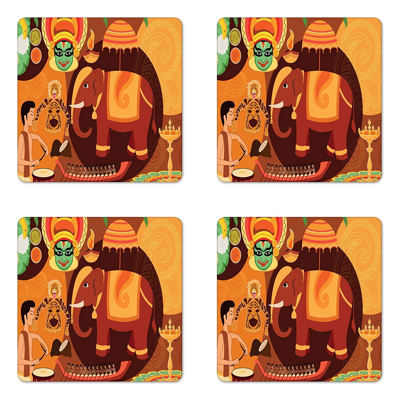 Lunarable Kerala Coaster Set of Four, Illustration of Happy Onam Festival Celebration Ancient Cultural Traditional Theme, Square Hardboard Gloss Coasters for Drinks, Multicolor