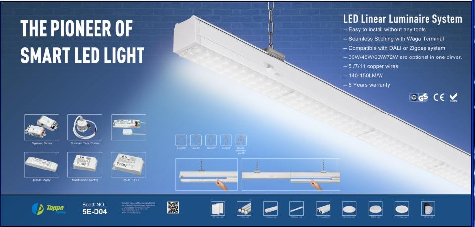 supermarket Warehouse 36w 48w 60w 72w Indoor skyline Linear Light 25 degree led linear light trunking system