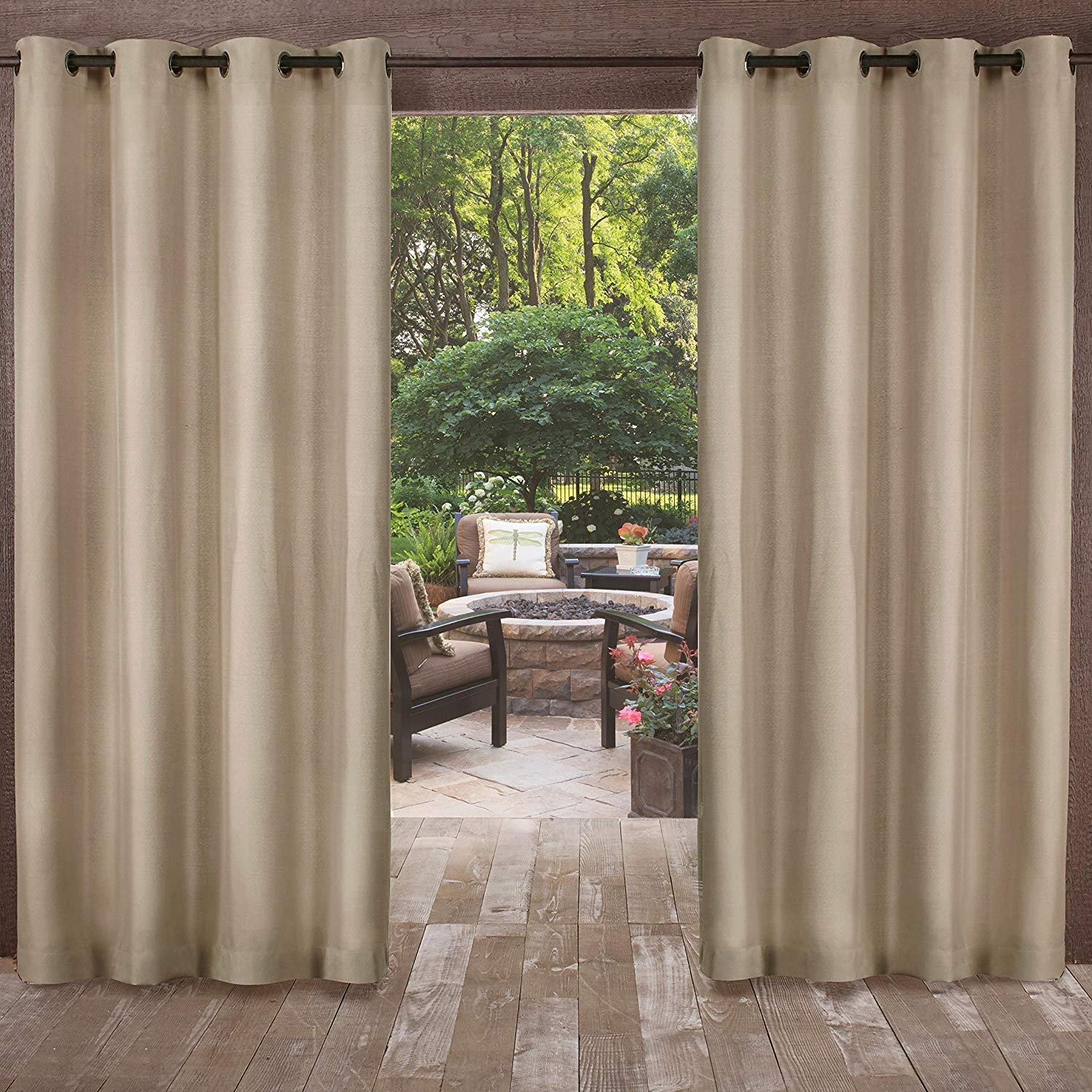 UK4 2 Piece 84 Inch Natural Indoor Outdoor Two Tone Textured Gazebo Curtain, Light Brown Window Treatment Panel Pair, Patio Porch Cabana Dock Grommet Top Pergola Drapes, Casual Contemporary Polyester
