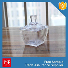 Decorative luxury candle glass jar with glass lid