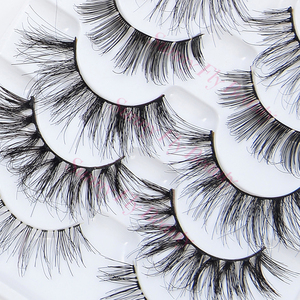 Factory wholesale double layer human hair false strip eye lashes