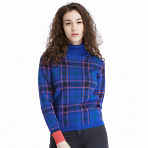 New Arrivals Women's Turtle Neck Plaid Tunic Sweatshirts Pullover Sweaters Long Sleeve Casual Shirts Blouses Tops