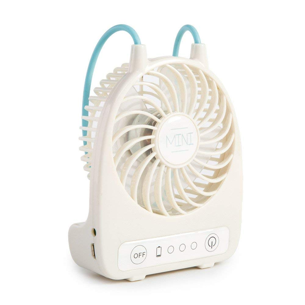 Yomioak Small Personal USB Fan - Portable Table Desk Fan Small electric fan, portable student, hand-held, dormitory, child, electric, rechargeable, cute, white