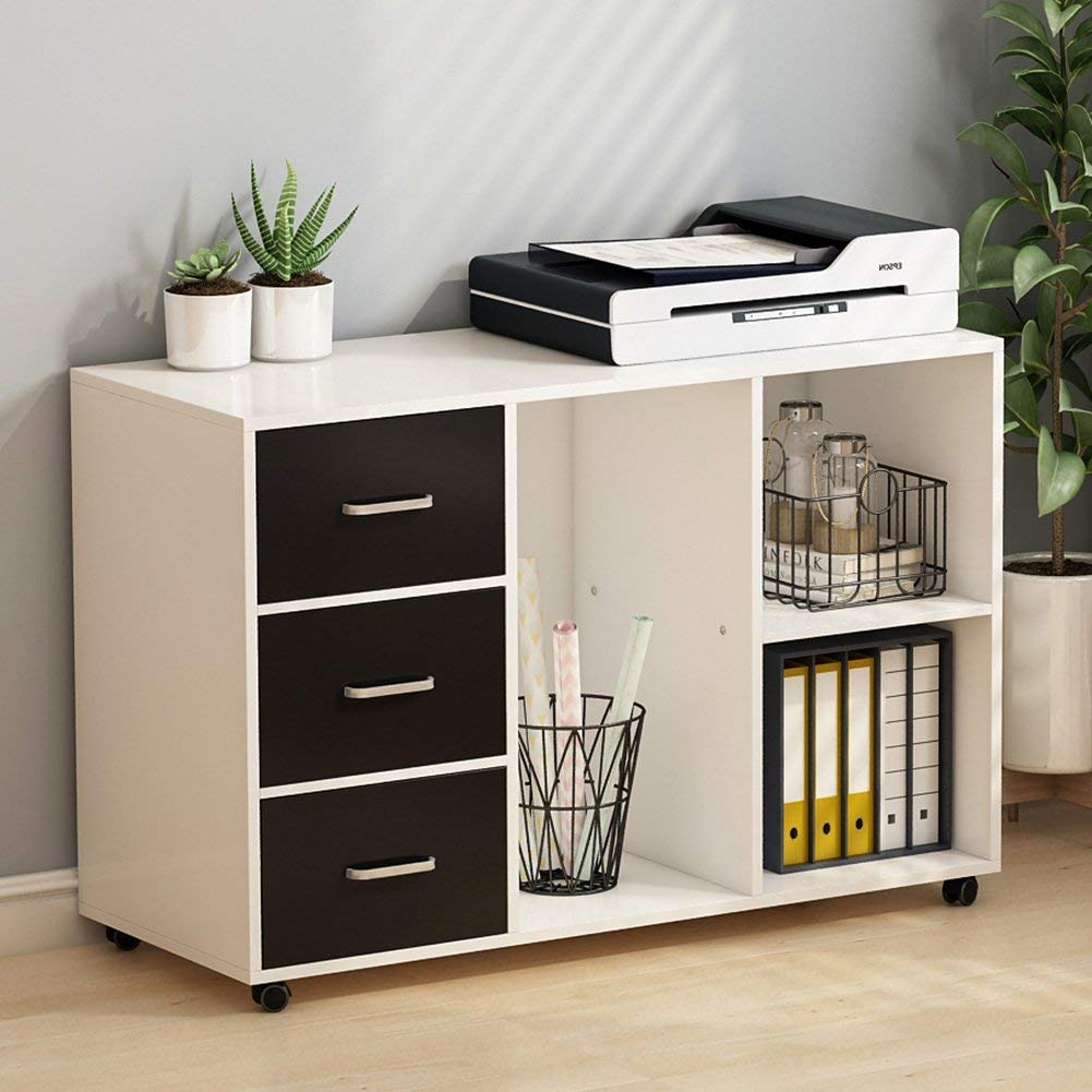 Get Quotations Tribesigns 3 Drawer Wood File Cabinets Large Modern Lateral Mobile Filing Printer Stand With