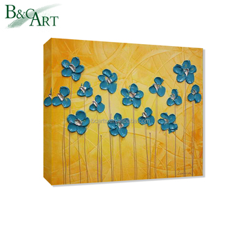 Golden Color Background Blue Flower Office Wall Art Painting - Buy ...